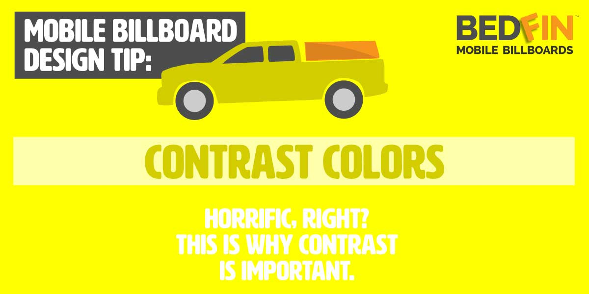 design tip about contrasting color on your advertisement